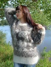 Mohair Angora Cashmere Wool Sweater Pullover goat Fur Down Fetish Unisex Sexy