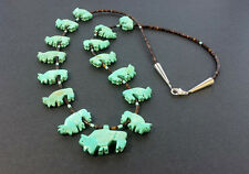 Hand Carved Single Strand All Buffalo Fetish Necklace with Black Pen Shell Beads
