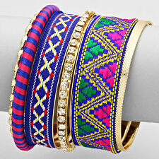 DESIGNER INSPIRED 6-LAYERS TRIBAL CHEVRON STACK BANGLE BRACELETS