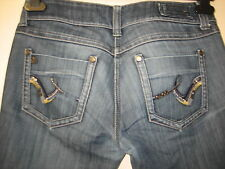 -55)  WOMENS LOVELY BLUE DISTRESSED RIVER ISLAND JEANS ZIP FLY  SIZE 10   LEG 30