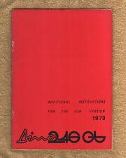 Ferrari Dino 246 GT/GTS - RARE Owners Handbook Supplement - USA 1973 - Eng Text