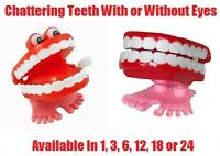 New CHATTERING TEETH Wind Up Toy Party Goodie Loot Bag Filler Favour Joke Prank