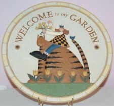 Williraye Studio Garden Welcome Cat Round Stepping Stone Plaque Sign HTF VGUC