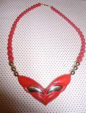 Vintage Preciosa 1980s lápiz labial rojo y oro Gruesa Collar de Abalorios de moda pop