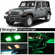 6x Green Interior LED Lights Package Kit for 2007-2014 Jeep Wrangler + TOOL