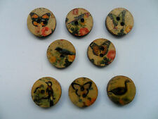 50pcs Vintage Style Birds / Butterflies Wood  Scrapbooking / Sewing Buttons 15mm