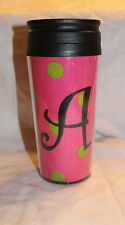 Noell Travel Mug Initial A Pink Green Tweed New NWT HTF