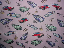 50's American Cars Pink Cotton Fabric Material by HALF METRE Rockabilly