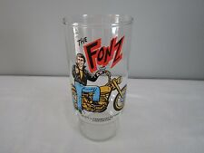 Vtg 1977 The Fonz on Motorcycle Happy Days Dr. Pepper Pizza Hut Glass Tumbler