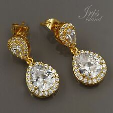 Gold Plated Cubic Zirconia CZ Bridesmaid Wedding Bridal Drop Dangle earrings 873