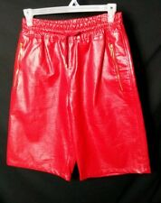 Men's Royal Army PU Faux Leather Red Shorts w/ Front Mesh Deep Pockets