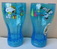 Peanuts Snoopy & Woodstock Christmas Light-up/Flashing Glass/Cup Blue New