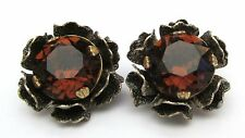 Vintage Miriam Haskell Amber Crystal Clip On Earrings