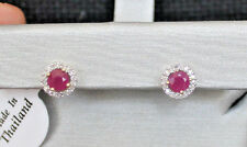 New 10K Round Natural Ruby & Diamond halo Stud Earrings Yellow Gold
