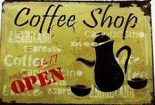 COFFEE SHOP OPEN MENU METAL TIN SIGNS vintage cafe pub bar garage retro kitchen