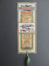 Vintage Greetings BOOKMARK CHRISTMAS Friends That We Make HOLLY Snowy Scene OLD