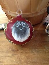 Keeshond Ornament Austiran Hand Painted Blown Glass