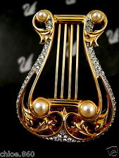 SIGNED SWAROVSKI MUSIC LYRE  PIN /  BROOCH  NEW  WITH TAGS RARE RETIRED!!!