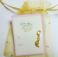 """I Love you to the Moon and Back"" Golden Man in the Moon Clip-on Charm +Gift Tag"