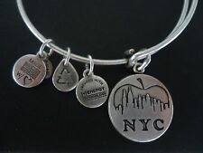 Alex and Ani NEW YORK CITY SKYLINE Russian Silver Charm Bangle New W/ Card & Box