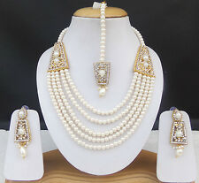 Ethnic Indian Jewelry Bollywood Fashion Bridal Necklace Earrings Tikka Pearl Set