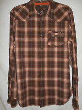 Western Cowboy Shirt MEDIUM Mens Guess Snaps Plaid Brn Orange Silver 6W29
