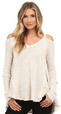 Free People Oversized Cold Shoulder Thermal Knit Ivory Sweater Size Medium
