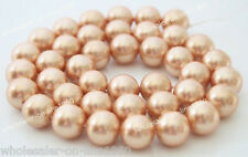 """12mm Genuine Natural Champagne Mother Of South Ocean Shell Pearl Loose Beads 15"""""""