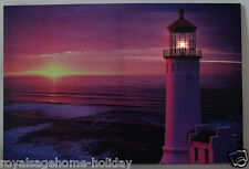 73-73008 Lighted Lighthouse Light Up Canvas Painting Picture Art Sunset