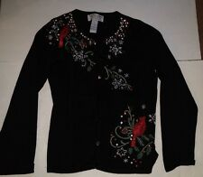 Ugly Holiday Christmas Sweater Snowflake Cardinal Cardigan Size S Sequins Beads