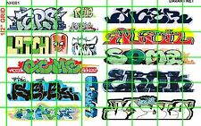 NH081 1/2 Set N SCALE MODERN GRAFFITI TAGGING URBAN CITY BOXCAR DAVE'S DECALS