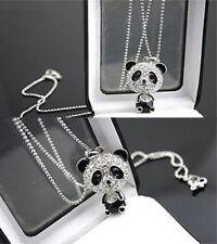 Fashion Women Silver Panda Rhinestone Pendant Necklace Sweater Chain Jewelry