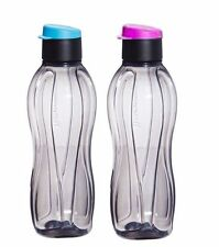Tupperware 310 ML ECO Aquasafe Flip Top Black Water bottles- Set of 2- New!