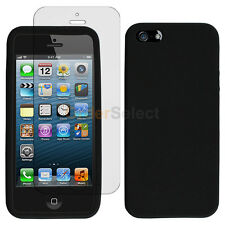 Silicone Soft Rubber Gel Case+LCD Screen Guard for Apple iPhone 5 5G 5S Black