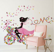 Hot Flower Girl Removable Wall Art Sticker Vinyl Decal DIY Room Home Mural Decor