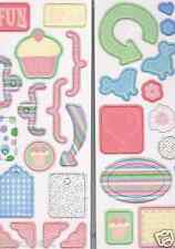 Docrafts 31 chipboard shapes Sweet Nothings cupcake love arrows cup cakes hearts