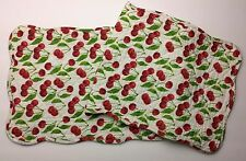 Red Cherry Bunches on a Cream Background Quilted Cotton Table Runner KATHY