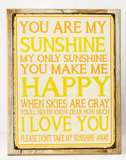 You Are My Sunshine Metal Sign Framed on Rustic Wood, Country Home Decor, Love
