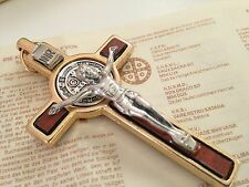 """St BENEDICT MEDAL 3""""TALL CRUCIFIX  GOLD PLATED/ BROWN FINISH/ Cruz San Benito"""