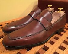 Santoni Quinlan Brown Soft Leather Penny Loafer Shoes 8 D $545