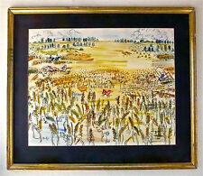RAOUL DUFY -- A 1940s WATERCOLOR LANDSCAPE PAINTING OF FARMING, FARM, FRENCH !!!