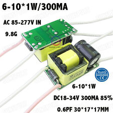 5PCS AC85-277V 10W LED Driver 6-10x1W 290mA DC18-34V Constant Current 6-10PCS 1W