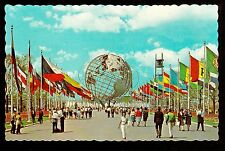 1964 Unisphere Flags Court of Nations New York World's Fair exposition postcard