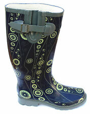 Barratts Womens UK 4 Blue Print Tall Rubber Wellington Boots - Brand New in Pack
