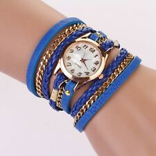 Fashion Womens Stainless Steel Leather Strap Braided Bracelet Quartz Wrist Watch