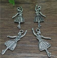 Wholesale 10pcs Tibet silver Ballet Girl Charm Pendant beaded Jewelry Findings