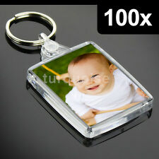 100x Premium Clear Acrylic Blank Keyrings Key Fobs 45 x 35 mm | Passport Photo