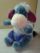 "Disney Winnie the Pooh Plush Eeyore Winter Knit Hat & Sweater 12"" Sitting NWOT"