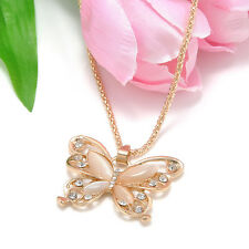 Elegant Women Lady Rose Gold Butterfly Pendant Charm Necklace Sweater Chain Gift