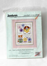 Janlynn Counted Cross Stitch Sealed Kit Cute As A Button Birth Announcement Baby